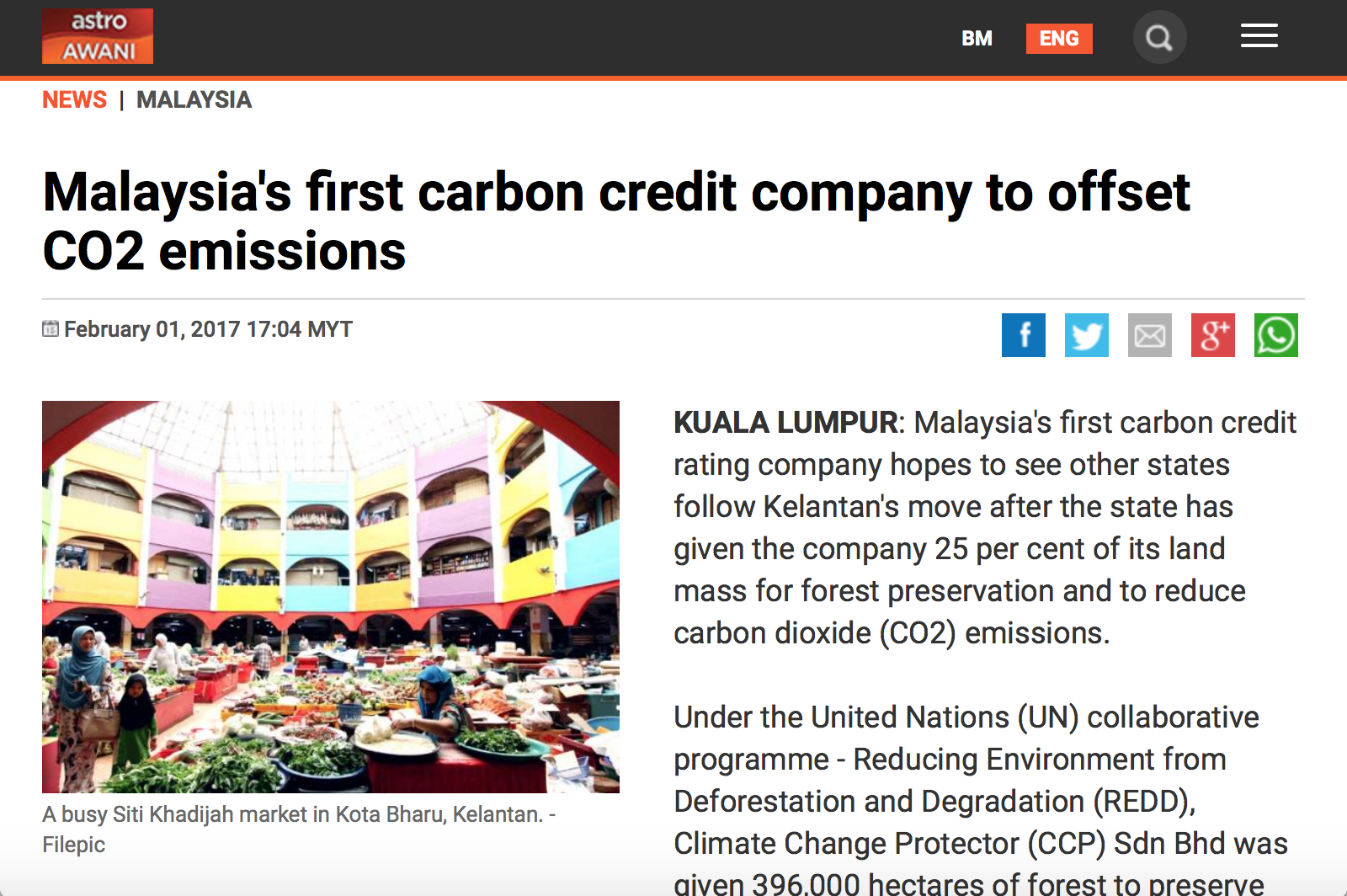 A snippet from Astro Awani's website